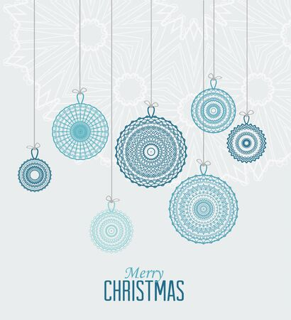 color balls: Vector Christmas balls on a blue background Illustration