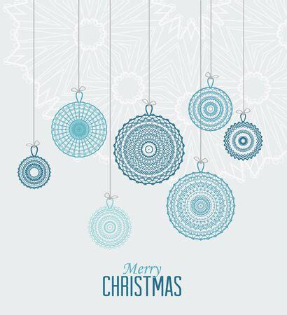 Vector Kerst ballen op een blauwe achtergrond Stock Illustratie