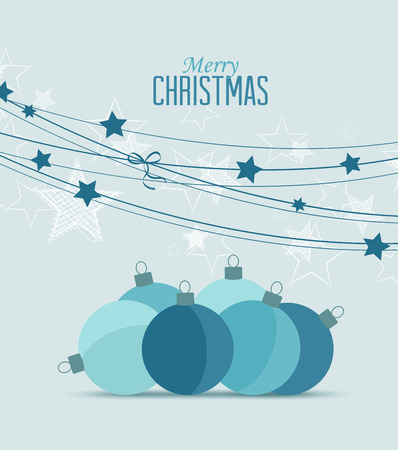 blue christmas background: Retro decorative Christmas balls, vector Christmas card