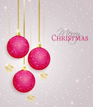 pink christmas: Vector Christmas balls on a gray  background Illustration