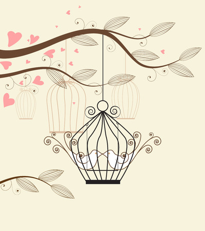 outdoor wedding: White doves in a cage vector illustration