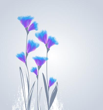 Vektor-Illustration von Blumen auf einem grauen Hintergrund
