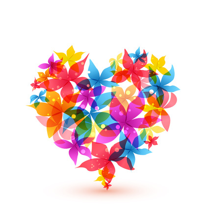 heart abstract: illustration Abstract heart with colorful flowers Illustration