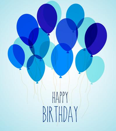 illustration de ballons de fête d'anniversaire en bleu