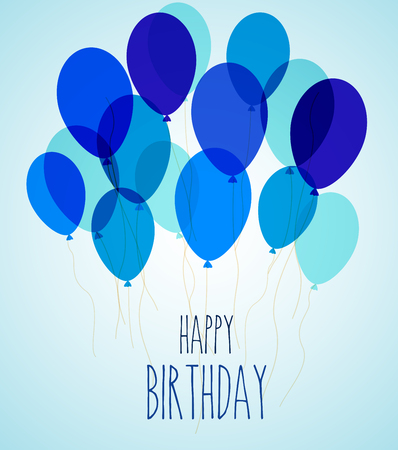ilustración de globos de fiesta de cumpleaños en azul