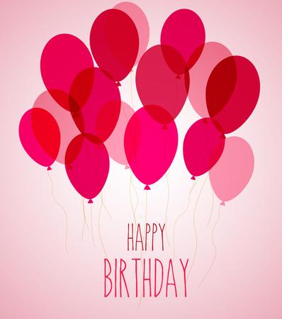 ilustración de globos de fiesta de cumpleaños en rosa
