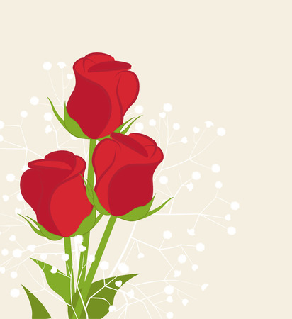 red rose: illustration with roses with space for text