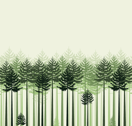 illustration background landscape with trees. Forest Ilustração