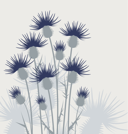 illustration thistles, background flowers in the meadow
