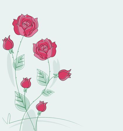 illustration with roses with space for text