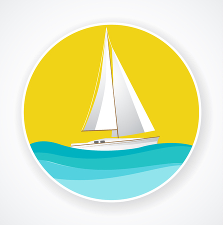 ship sign: Sailing ship in the sunset, ship sign