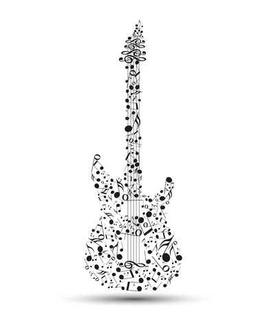 Vector musical notes in the shape of an electric guitar