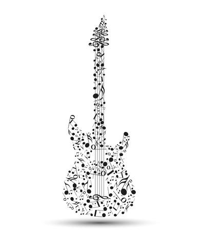 Vettore note musicali a forma di una chitarra elettrica