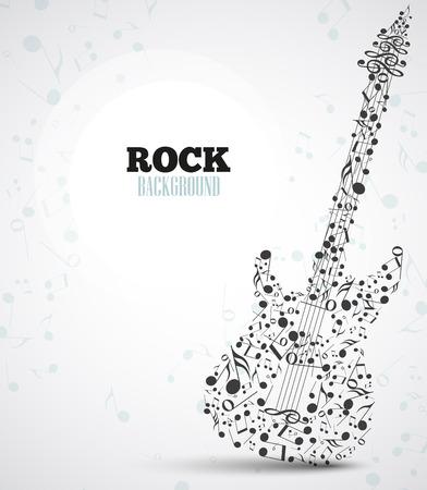 Vector sfondo note musicali a forma di una chitarra elettrica