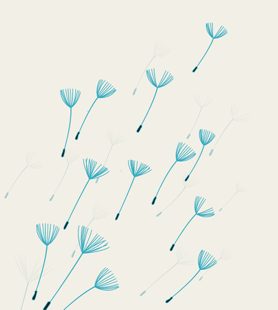 pollination: Vector illustration background with flying dandelion fluff