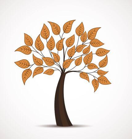 autumn tree: Vector autumn tree on a white background Illustration