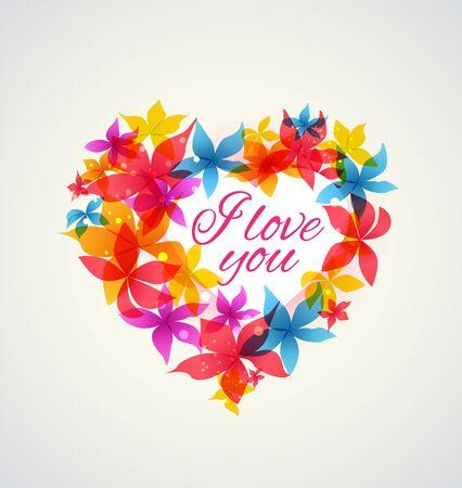 ilustración vectorial abstracto del corazón con flores de colores
