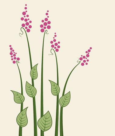 flower fields: Vector abstract decorative flowers, meadow flowers, cards Illustration