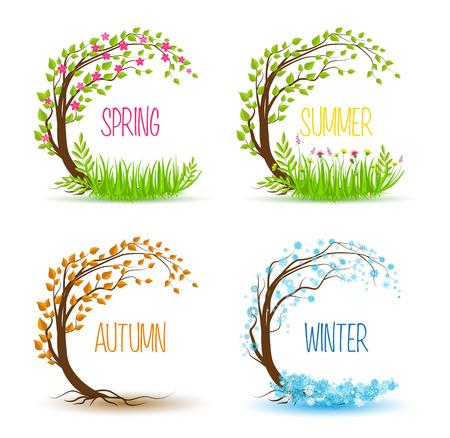 Árbol del vector en cuatro temporadas - primavera, verano, otoño, invierno Ilustración de vector