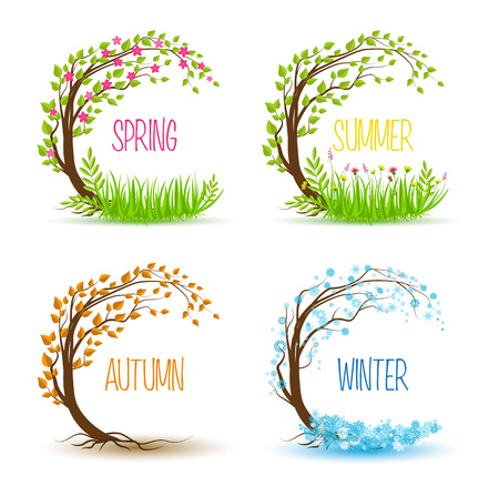 winter garden: Vector tree in four seasons - spring, summer, autumn, winter