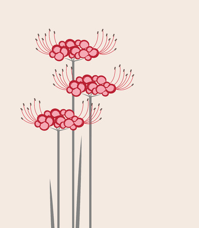 nagasaki: Vector flower Higanbana on a pink background Illustration
