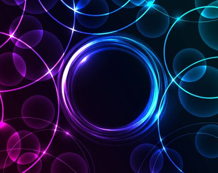 colours: Vector abstract circles on a dark background Illustration