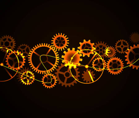 mechanism: Vector illustration mechanism cogwheels on black background