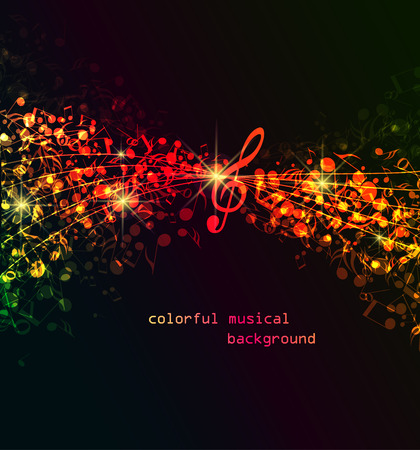 music background: Vector abstract colored notes on a dark background, colorful musical background