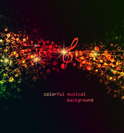 Vector abstract gekleurde noten op een donkere achtergrond, kleurrijke muzikale achtergrond