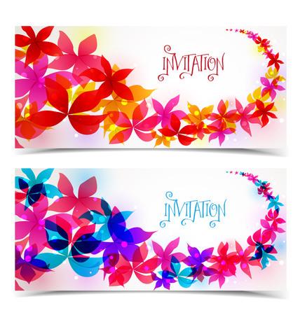 两个花卉贺卡,花卉颜色设计