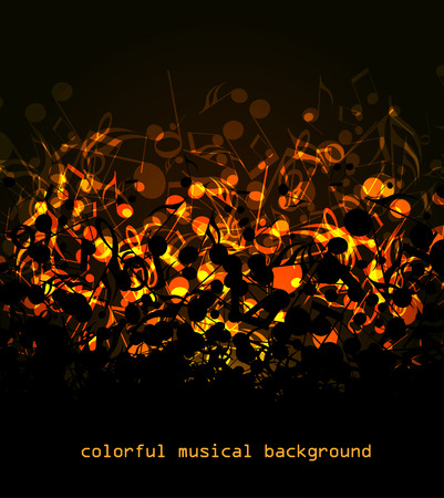 abstract colored notes on a dark background, colorful musical background