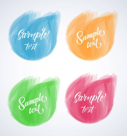 web button: elements for headers, labels, web buttons. Circle brush strokes. Colorful banners.