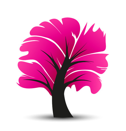 pink tree: abstract illustration of a tree, decorative pink tree with leaves