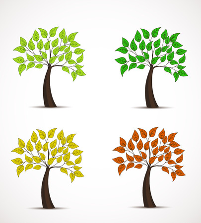 wind icon: tree in four colors, decorative tree with leaves