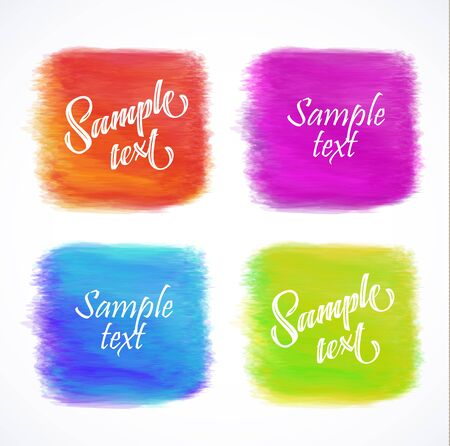 web buttons: elements for headers, labels, web buttons. Square brush strokes. Colorful banners.