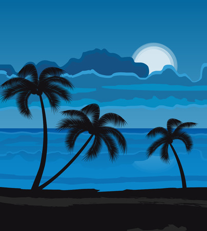 summer trees: Vector illustration Night Summer beach with palm trees, night landscape with moon Illustration