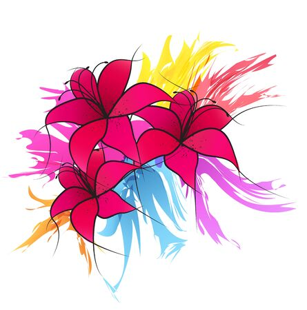 white lilly: Vector illustration of pink lilies, splash decoration flowers