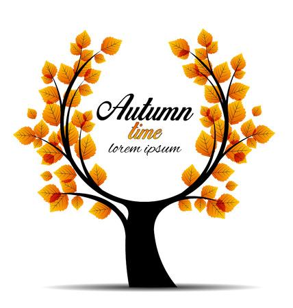 autumn scene: Vector illustration autumn tree place for text