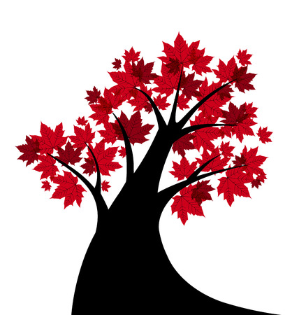 wind icon: Vector illustration of a maple tree silhouette