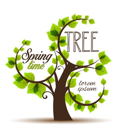 place for the text: Vector illustration green tree place for text