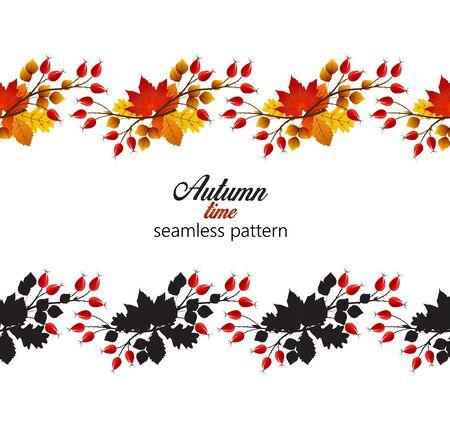 hip: Vector illustration rose hip and leaf, seamless pattern autumn bush Illustration