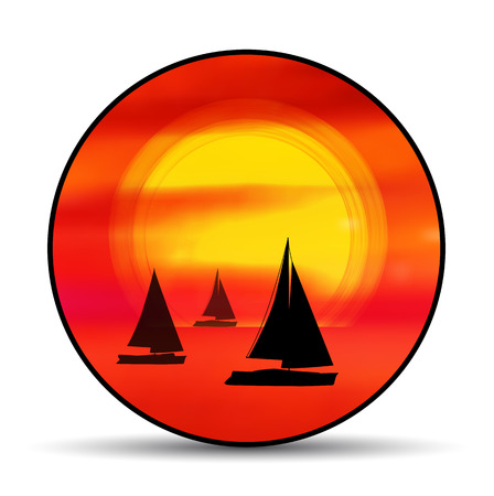 Vector emblem, badge summer vacation with sunset and ship