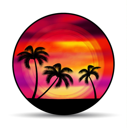 Vector emblem, badge summer vacation with sunset and palm trees