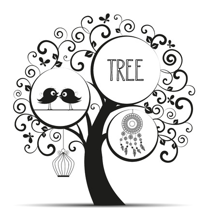swirls vector: Vector illustration of decorative tree, natural silhouette on a white background Illustration