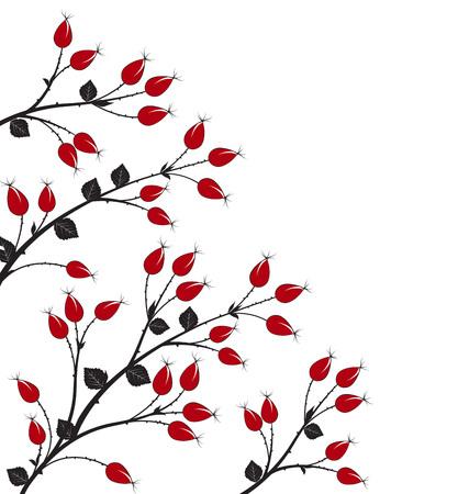 Vektor-Illustration Hagebutte, Silhouette Herbst Busch