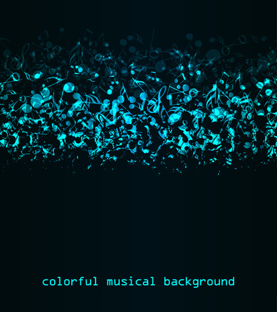 music notation: abstract blue notes on a dark background, colorful musical background Illustration