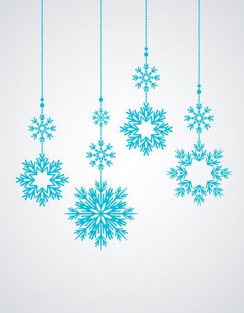 Sfondo invernale con vari fiocchi di neve, decorazione natalizia Vettoriali