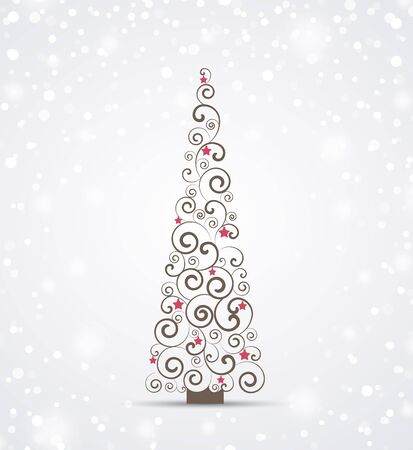 snowfall: Christmas background, Merry Christmas card with Christmas tree Illustration