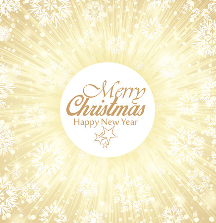 gold christmas background: Christmas background, Merry Christmas card with snow Illustration