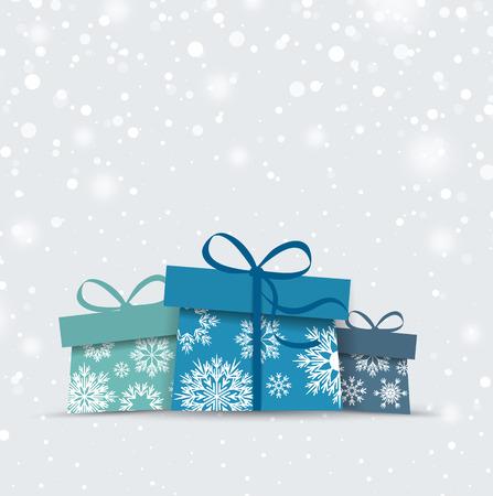 Retro decorative Christmas presents, Christmas card Vector Illustration